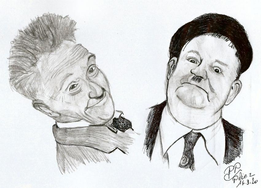 Stan Laurel, Oliver Hardy by Patoux